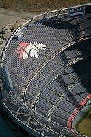 aerial photograph of INVESCO Denver Broncos football stadium Denver, Colorado