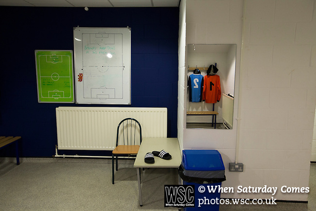 Bishop Auckland 3 West Auckland Town 1, 22/01/2016. Heritage Park, Northern League Division One. Home team strips in the dressing room before Bishop Auckland host West Auckland Town in a Northern League division one match at Heritage Park. Bishop Auckland were winners of the Amateur Cup 10 times between 1895 and 1957 whilst their opponents won the Sir Thomas Lipton Trophy, regarded as the first world club tournament, in 1909 and 1911.  Bishop Auckland won this fixture 3-1, watched by a crowd of 422 at the ground they moved into in 2010. Photo by Colin McPherson.