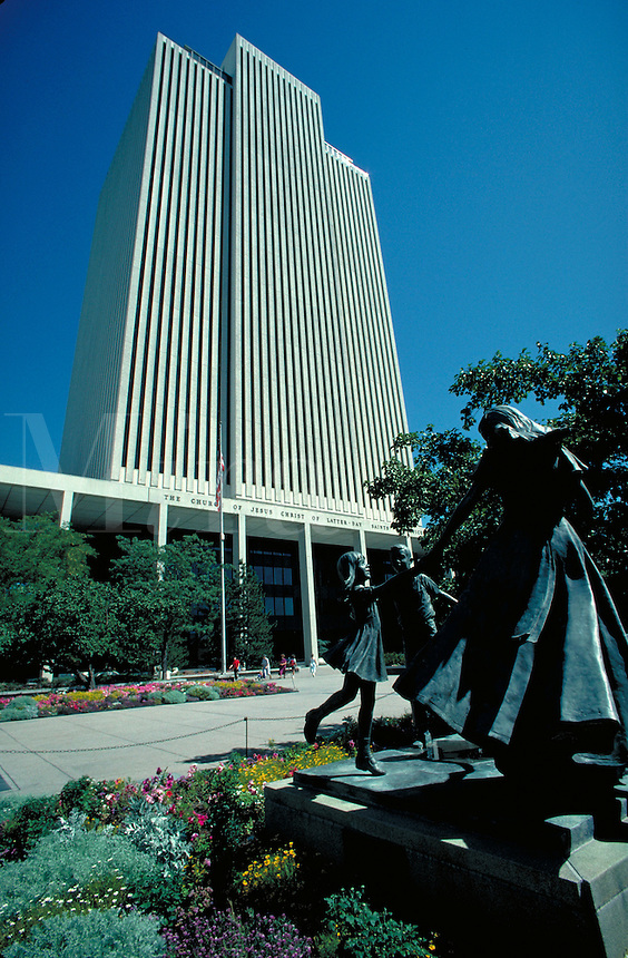 Latter Day Saints (Mormon) office building at Temple Square in Salt Lake City, Utah. architecture, religions, Christianity, statue of woman and small children. Salt Lake City Utah.
