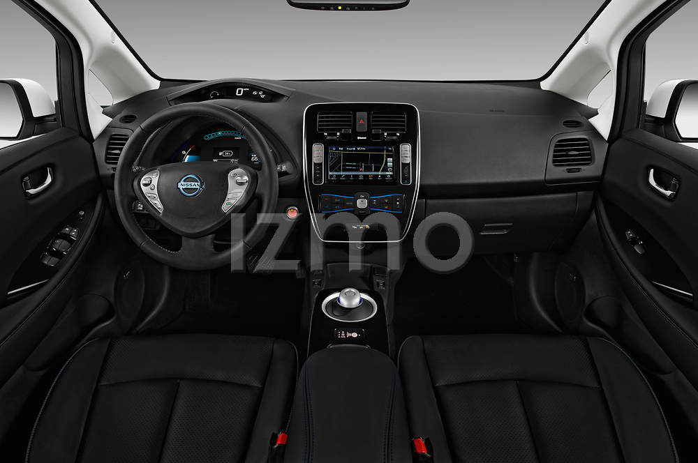Stock photo of straight dashboard view of 2017 Nissan Leaf SL 5 Door Hatchback