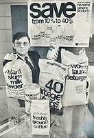 1978<br />  FILE PHOTO - ARCHIVES -<br /> <br /> He's Gambling the Ontario consumer is ready for no-frills approach to cutting her budget, by buying what he calls stripped-down, barebones, no-nonsense products, says Loblaws stores president David Nichol.<br /> <br /> Bezant, Graham<br /> Picture, 1978<br /> <br /> 1978<br /> <br /> PHOTO : Graham Bezant - Toronto Star Archives - AQP