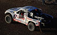 Nov. 6, 2010; Las Vegas, NV USA; LOORRS pro two unlimited driver Carl Renezeder celebrates his victory during round 13 at the Las Vegas Motor Speedway short course. Mandatory Credit: Mark J. Rebilas-