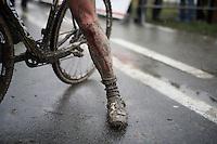 Ellen Van Loy's (BEL/Telenet-Fidea) blooded knee post-race<br /> <br /> Noordzeecross - Middelkerke 2016
