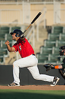 Daniel Gonzalez (23) of the Kannapolis Intimidators follows through on his swing against the Greensboro Grasshoppers at Intimidators Stadium on July 17, 2016 in Greensboro, North Carolina.  The Grasshoppers defeated the Intimidators 5-4 in game two of a double-header.  (Brian Westerholt/Four Seam Images)