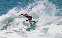 Huntington Beach, CA - Saturday August 05, 2017: Tomas Hermes during a World Surf League (WSL) Qualifying Series (QS) fifth round heat in the 2017 Vans US Open of Surfing on the South side of the Huntington Beach pier.