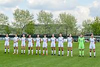 line-up team OHL ( Marie Detruyer (17) , Sara Yuceil (13) , Estee Cattoor (11) , Luna Vanzeir (10) , Jill Janssens (7) , Zenia Mertens (6) , Auke Swevers (4) , Amber Tysiak (3) , Sari Kees (2) , Goalkeeper Louise Van Den Bergh (1) , Lenie Onzia (8) ) pictured before a female soccer game between AA Gent Ladies and Oud Heverlee Leuven on the fourth matchday of play off 1 in the 2020 - 2021 season of Belgian Scooore Womens Super League , saturday 1 st of May 2021  in Oostakker , Belgium . PHOTO SPORTPIX.BE | SPP | STIJN AUDOOREN