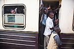 Passenger train arriving in Nairobi Railways Station.