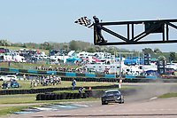 Roger Thomas, Ford Fiesta WRX, BRX Supercars finishes the third qualifier in first place with the underside of his car alight  during the 5 Nations BRX Championship at Lydden Hill Race Circuit on 31st May 2021