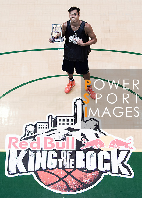 Fong Shing Yee, winner of the 2012 Red Bull King of the Rock Hong Kong Qualifier, poses with his trophy. Photo © Raf Sanchez / The Power of Sport Images