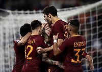 Calcio, Serie A: Roma vs Juventus. Roma, stadio Olimpico, 14 maggio 2017. <br /> Roma's Radja Nainggolan, center, celebrates with teammates after scoring during the Italian Serie A football match between Roma and Juventus at Rome's Olympic stadium, 14 May 2017. Roma won 3-1.<br /> UPDATE IMAGES PRESS/Isabella Bonotto