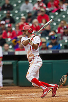 Nebraska Cornhuskers outfielder Luis Alvarado (19) follows through on his swing during the NCAA baseball game against the Hawaii Rainbow Warriors on March 7, 2015 at the Houston College Classic held at Minute Maid Park in Houston, Texas. Nebraska defeated Hawaii 4-3. (Andrew Woolley/Four Seam Images)