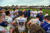 The Timaru team huddles at halftime in the UC Championship 1st XV rugby final between Christchurch Boys' High School and Timaru Boys' High School at Christchurch Boys' High School in Christchurch, New Zealand on Saturday, 26 August 2017. Photo: Dave Lintott / lintottphoto.co.nz