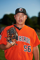 Aberdeen IronBirds pitcher Jeong-Hyeon Yoon (56) poses for a photo before a game against the Batavia Muckdogs on July 15, 2016 at Dwyer Stadium in Batavia, New York.  Aberdeen defeated Batavia 4-2.  (Mike Janes/Four Seam Images)