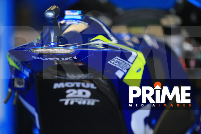 General View of Alex Rins (42) of the Team SUZUKI ECSTAR race team's motorcycle during the GoPro British MotoGP at Silverstone Circuit, Towcester, England on 26 August 2018. Photo by Chris Brown / PRiME Media Images