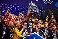 Esultanza PSG Coppa  - Joie des joueurs de l equipe du PSG apres sa victoire - Thiago Silva ( 2 - PSG ) - Angel Di Maria ( 11 - PSG ) - Mauro Icardi ( 18 - PSG ) - Ander Herrera ( 21 - PSG ) - Keylor Navas ( 1 - PSG ) - vMahdi CAMARA ( 8 - Saint Etienne ) - Pablo Sarabia ( 19 - PSG ) - <br /> Paris 24/07/2020 Stade de France <br /> Calcio Finale Coppa di Francia <br /> Paris Saint Germain vs Saint Etienne <br /> Photo Federico Pestellini/Panoramic/insidefoto <br /> ITALY ONLY