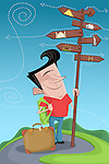 Illustrative image of happy man standing by directions sign post representing world tour