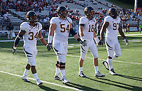 Captains Shane Vereen, Chris Guarnero, Mike Mohamed, and Cameron Jordan walk onto the field for the coin toss. The University of California football defeated Washington State University 20-13 at Martin Stadium in Pullman, Washington on November 6th, 2010.