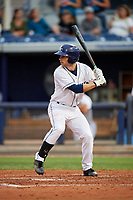 Charlotte Stone Crabs second baseman Brandon Lowe (5) at bat during a game against the Palm Beach Cardinals on April 11, 2017 at Charlotte Sports Park in Port Charlotte, Florida.  Palm Beach defeated Charlotte 12-6.  (Mike Janes/Four Seam Images)