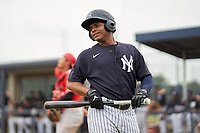 FCL Yankees Jose Martinez (36) bats during a game against the FCL Phillies on July 6, 2021 at the Yankees Minor League Complex in Tampa, Florida.  (Mike Janes/Four Seam Images)