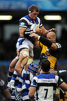 Stuart Hooper of Bath Rugby gets the better of Sam Dickinson of Northampton Saints in the lineout during the Amlin Challenge Cup Final match between Bath Rugby and Northampton Saints at Cardiff Arms Park on Friday 23rd May 2014 (Photo by Rob Munro)