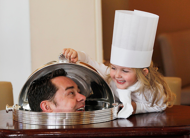 no fee for repro. Renowned Irish chef Neven Maguire is pictured here at the launch of this year's Euro-toques Young Chef of the Year competition with Ruby Kelly, 4, in Restaurant Patrick Guilbaud Dublin..Chef Patron of MacNean House, Neven is a former Euro-toques Young Chef winner in 1994 and a judge in this year's competition. .Euro-Toques chefs and cooks are committed to a philosophy of quality food sourcing, with an emphasis on seasonal, local and artisan ingredients. They aim to keep the art of real cooking and culinary traditions alive, promoting respect for classical skills combined with modern industry techniques amongst chefs. Pic Robbie Reynolds CPR