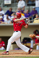 Stony Brook Seawolves designated hitter Kevin Krause #2 swings during the NCAA Super Regional baseball game against LSU on June 9, 2012 at Alex Box Stadium in Baton Rouge, Louisiana. Stony Brook defeated LSU 3-1. (Andrew Woolley/Four Seam Images)