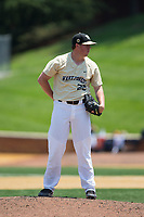 Wake Forest Demon Deacons relief pitcher Chris Farish (32) looks to his catcher for the sign against the Pitt Panthers at David F. Couch Ballpark on May 20, 2017 in Winston-Salem, North Carolina. The Demon Deacons defeated the Panthers 14-4.  (Brian Westerholt/Four Seam Images)