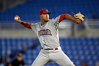 Clearwater Threshers pitcher Ranfi Casimiro (52) delivers a pitch during a game against the Dunedin Blue Jays on April 8, 2017 at Florida Auto Exchange Stadium in Dunedin, Florida.  Dunedin defeated Clearwater 12-6.  (Mike Janes/Four Seam Images)