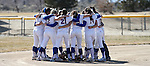 The Western Nevada Wildcats huddle before a college softball game in Carson City, Nev., on Friday, Feb. 22, 2013..Photo by Cathleen Allison