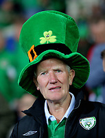 An Ireland fan wearing a green hat during the FIFA World Cup Qualifier Group D match between Wales and Republic of Ireland at The Cardiff City Stadium, Wales, UK. Monday 09 October 2017