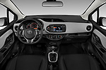 Stock photo of straight dashboard view of 2018 Toyota Yaris Y-oung 3 Door Hatchback Dashboard