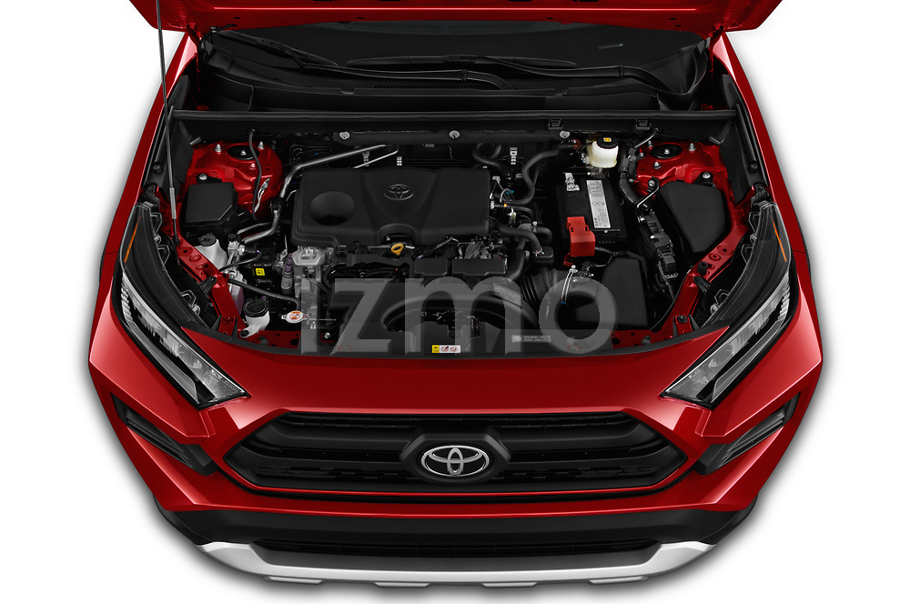 Car stock 2019 Toyota RAV4 Adventure 5 Door SUV engine high angle detail view
