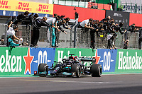 44 HAMILTON Lewis (gbr), Mercedes AMG F1 GP W12 E Performance, action celebrating his victory during the Formula 1 Heineken Grande Prémio de Portugal 2021 from April 30 to May 2, 2021 on the Algarve International Circuit, in Portimao, Portugal <br /> FORMULA 1 : Grand Prix Portugal - Essais - Portimao - 02/05/2021 <br /> Photo DPPI/Panoramic/Insidefoto <br /> ITALY ONLY