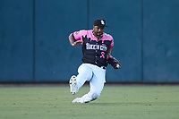 Charlotte Knights left fielder Eloy Jimenez (32) makes a sliding catch during the game against the Gwinnett Stripers at Truist Field on July 17, 2021 in Charlotte, North Carolina. (Brian Westerholt/Four Seam Images)