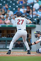 Zack Zehner (27) of the Scranton/Wilkes-Barre RailRiders at bat against the Charlotte Knights at BB&T BallPark on August 14, 2019 in Charlotte, North Carolina. The Knights defeated the RailRiders 13-12 in ten innings. (Brian Westerholt/Four Seam Images)