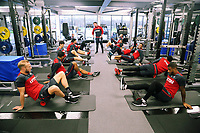 Players exercise in the gym during the Swansea City Training at The Fairwood Training Ground, Swansea, Wales, UK. Wednesday 22 November 2017