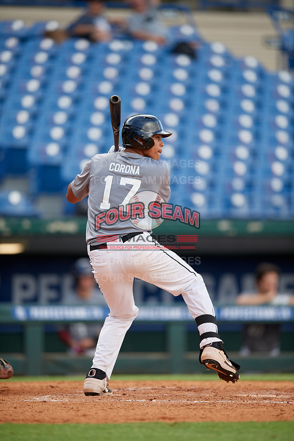 Daniel Corona (17) of Baylor High School in Brooklyn, NY during the Perfect Game National Showcase at Hoover Metropolitan Stadium on June 17, 2020 in Hoover, Alabama. (Mike Janes/Four Seam Images)