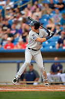 West Michigan Whitecaps right fielder Cole Bauml (16) at bat during the second game of a doubleheader against the Lake County Captains on August 6, 2017 at Classic Park in Eastlake, Ohio.  West Michigan defeated Lake County 9-0.  (Mike Janes/Four Seam Images)