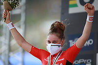 28th August 2021; Commezzadura, Trentino, Italy;  2021 Mountain Bike Cycling World Championships, Val di Sole; Cross Country, Womens Under 23,  Laura Stigger (AUT) takes the silver medal