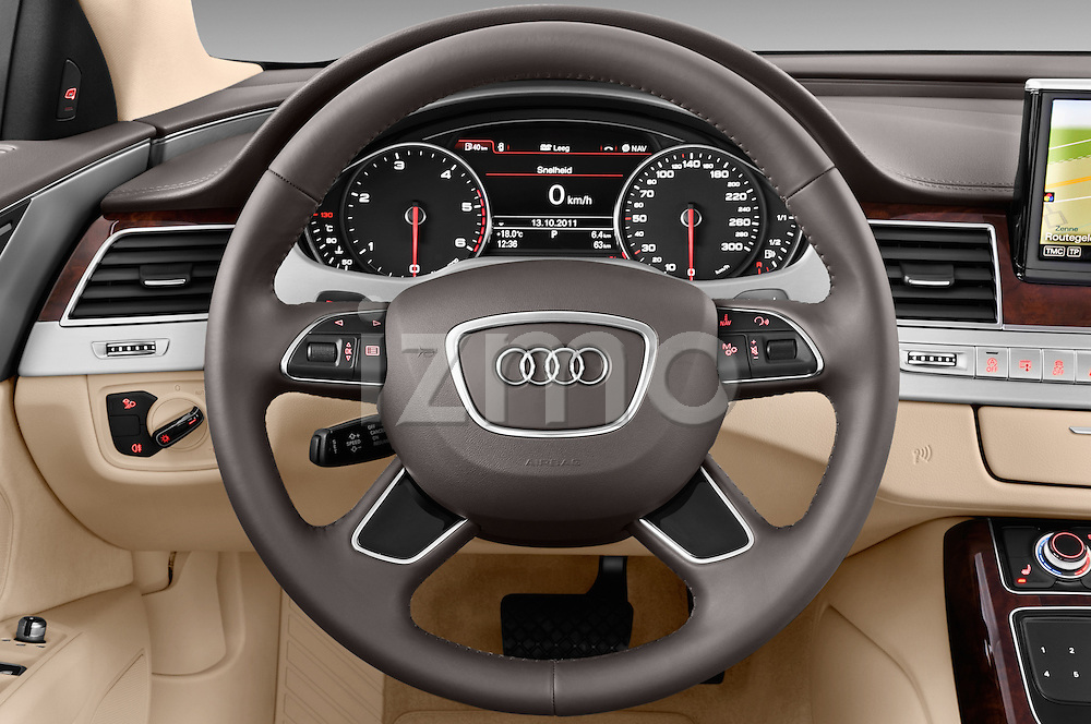 Steering wheel view of a 2013 Audi A8 L W12 4 Door Sedan 4WD