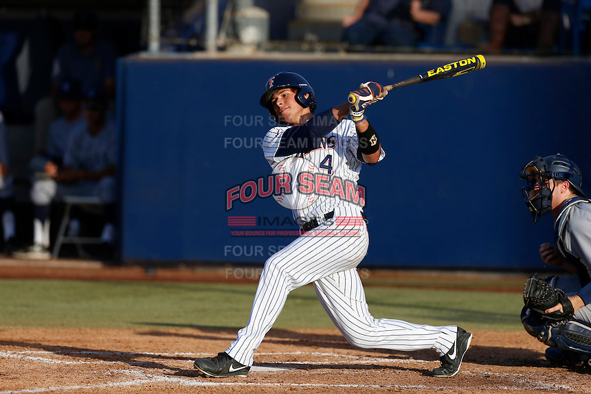 Jake Jefferies #4 of the Cal State Fullerton Titans bats against the UC Irvine Anteaters at Goodwin Field on May 18, 2013 in Fullerton, California. Fullerton defeated UC Irvine, 3-2. (Larry Goren/Four Seam Images)
