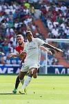 Real Madrid's player Danilo Luiz Da Silva and Osasuna player Oier Sanjurjo during a match of La Liga Santander at Santiago Bernabeu Stadium in Madrid. September 10, Spain. 2016. (ALTERPHOTOS/BorjaB.Hojas)