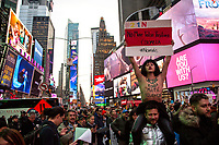NEW YORK, NY - NOVEMBER 21: A LGBT? Member holds a poster as hundreds of Colombians protest in New York City against their president Iván Duque and Colombia's government policies at Times Square on November 21, 2019 in New York. Thousands of Colombia anti-government protesters took the streets during a nationwide strike, where at least 200.000 people between students, teachers and labor union organizers marched across the country being the biggest march and protest in recent years (Photo by Pablo Monsalve / VIEWpress)