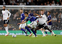 21st September 2021; Craven Cottage, Fulham, London, England; EFL Cup Football Fulham versus Leeds; Rodrigo Moreno of Leeds United shirt is pulled by Domingos Quina of Fulham