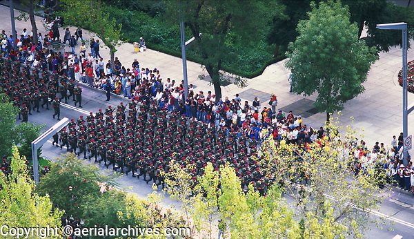 aerial photograph of Mexican troops marching down the Paseo de la Reforma during the Independence Day parade, Mexico City, Mexico