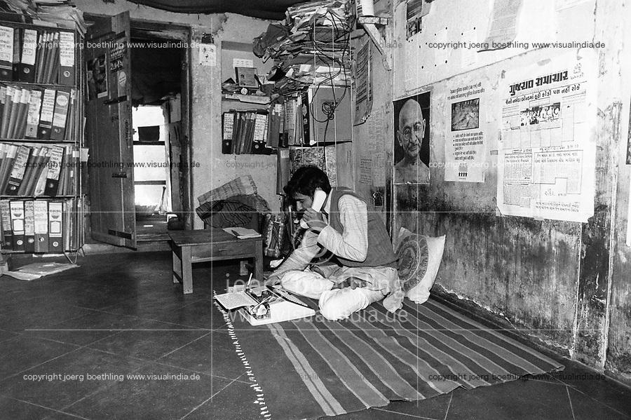 India, Narmada River, Narmada dams and protest movement of NBA Narmada Bachao Andolan, movement to save the Narmada river, and affected Adivasi in their villages, NBA office Baroda, activist Sanjay Sangvai