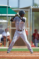 GCL Marlins shortstop Marcos Rivera (10) at bat during the first game of a doubleheader against the GCL Cardinals on August 13, 2016 at Roger Dean Complex in Jupiter, Florida.  GCL Cardinals defeated GCL Marlins 4-2 in a continuation of a game originally started on August 8th.  (Mike Janes/Four Seam Images)