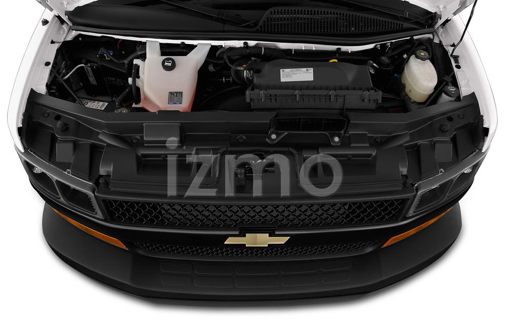 Car Stock 2020 Chevrolet Express-Cargo WT 4 Door Cargo Van Engine  high angle detail view