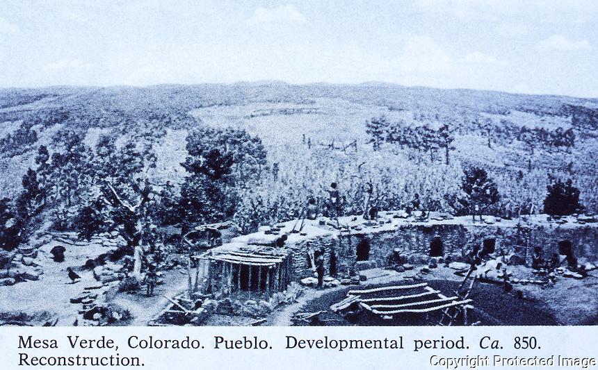Mesa Verde, Colorado. Pueblo. Development period. CA. 850. Reconstruction.