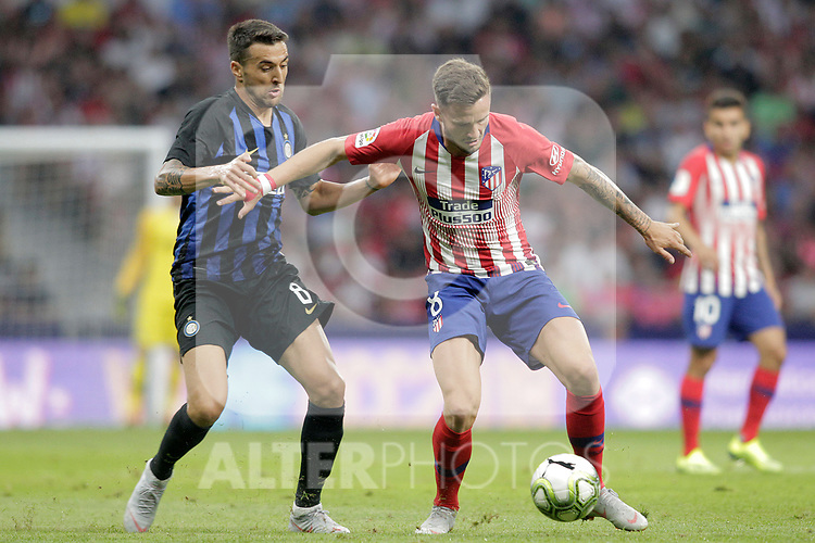 Atletico de Madrid's Saul Niguez (r) and FC Internazionale Milan's Matias Vecino during International Champions Cup 2018 match. August 11,2017. (ALTERPHOTOS/Acero)